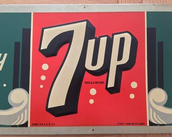 """7 UP Soda Sign 1944  Made by Stout Sign Co. Made in USA 3-44 """"We Proudly Serve"""" nodding to our WW2 Servicemen Very Rare Advertising"""