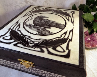 Celtic Raven Box, Crow Tarot Box, Pagan Wiccan Magic Storage Box, Raven Totem Gift Box, Jewelry Trinket Box, Black Wooden Box, Celtic Decor