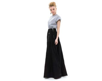 Black Maxi Skirt with pockets, ruffle maxi skirt, Party Outfits, maxi skirt boho, Gypsy Skirt, stylish and fashionable