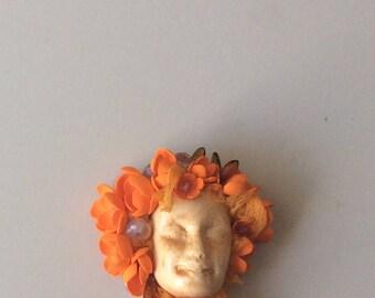 Handmade ooak brooch - Brooch -LADY Flower brooch-Brooch bouquet-Face Booch-Bouquet -Brooches and Pins- Brooch Face with flowers -Art brooch