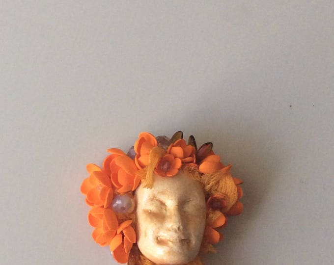 Handmade ooak brooch - Brooch -LADY Flower brooch-Brooch bouquet-Face Booch-Bouquet -Brooches and Pins- Brooch Face with flowers -Art brooch
