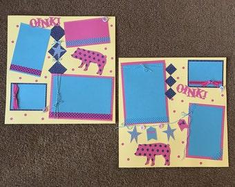 Pig Scrapbooking, Pig Scrapbook Pages, Pig Layout, Oink Scrapbooking Layout, Fair Scrapbook, Piggy Scrapbook, 2 Premade Pages