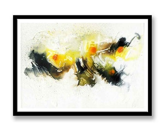 Yellow and black abstract // Original one of a kind art work // Abstract Ink Painting // Wall Art // Office Art // Corporate Art