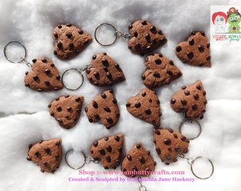 Chocolate Chip Cookie. Hearts. Keyrings. Key Chains. Handmade from Polymer Clay. was 5.50 now only 4.00 each