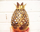 Brass pineapple candle holder votive tea light open work vintage