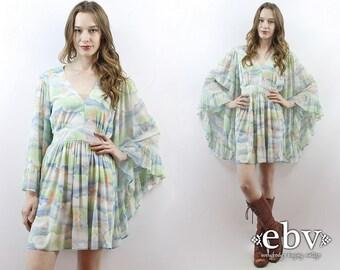Angel Sleeve Dress Hippie Dress Hippy Dress Boho Dress Bohemian Dress Hippie Wedding Dress 1970s Dress 70s Dress Bell Sleeve Dress L XL