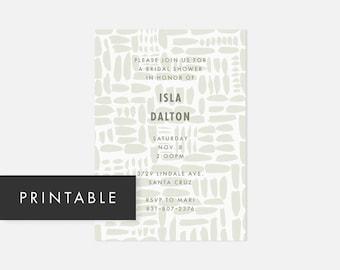 Minimalist Modern Printable Invitation / Simple DIY Invite / Bold Pattern / Muted Green / Bridal Shower, Baby Shower, Adult Birthday