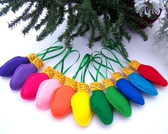 Felt Ornaments Set of 11 Handmade felt bulbs Christmas lights ornament Hand stitched  CHILD SAFE