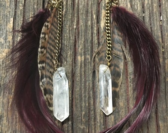 Crystal Feather Earring