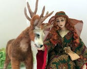 OOAK art doll Maid Marion needle felted stag deer posable wire sculpture Robin Hood theme