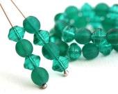 6mm Czech glass beads mix, Teal Beads mix, Saucer Ufo shape, Round dark Matte teal - 40Pc - 2268