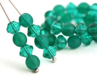 6mm Teal Czech glass beads mix, Saucer Ufo shape, Round dark Matte teal - 40Pc - 2268
