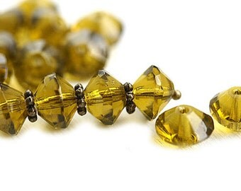 Olivine Rivoli beads, Olive Green Saucer czech glass beads, faceted, fire polished - 6x9mm - 10Pc - 1040