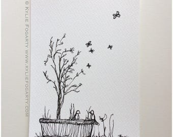 "Black & White - Drawing - ""BIRD CHATTER"" - Art - Original  - One of A Kind - Hand Drawn - Archival Ink Drawing - Bird - Pot - Landscape"