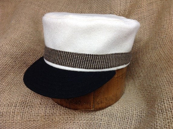 Franklin Farriers of Knoxville Vintage Base Ball cap. White wool flannel, fitted to any size.