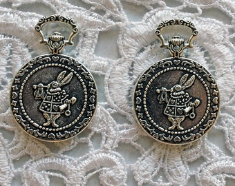 Reneabouquets Trinkets 2 Pack~ Metal White Rabbit In Wonderland Pocket Watch Cabochon Set In Tarnished Silver -Scrapbook,Jewelry Charm