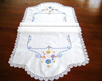 """Vintage Embroidered Table Dresser Runner, Blue Pink Yellow Lavender Flowers, White Work, Blue Swirls, Crochet Lace  45"""" x 20"""""""