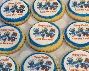 Smurf Party Favor Cookies - Handmade - 1 Dozen -
