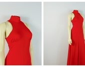 Vintage Dress 60s Mindy Malone Maxi Dress High Neck No Sleeves A Line Full Length Size Small to Medium