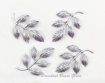 Antiqued Silver Leaf, Brass Leaves, Wedding Supply, Headpiece Supply, Leaf Stamping, Brass Drop, 36mm x 23mm - 4 pcs. (sl324)