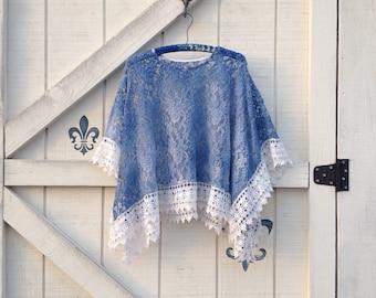 Lace shawl blue, lace coverlet shrug, dyed crochet lace upcycled,