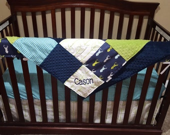 Baby Boy Crib Bedding - Navy Mixed Buck, Aqua Navy Plaid, White Lime Arrow, Navy Minky, and Jade Minky Crib Baby Bedding Ensemble