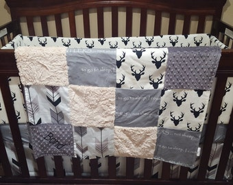 Antler Patchwork Blanket- Buck, I Count Antlers, Tan Gray Fletching Arrow, Gray Minky, and Ivory Crushed Minky Patchwork Baby Blanket