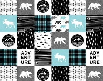 Carseat Tent - Woodland Moose Carseat Canopy, Tent, Aqua Black Check, Bears, Moose, Adventure