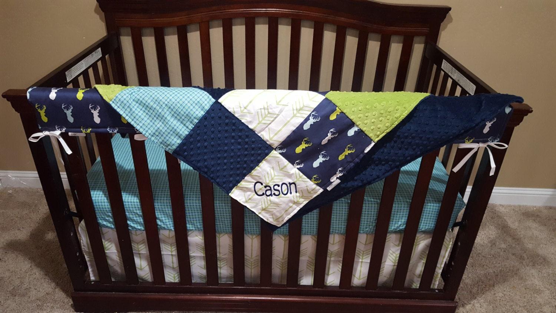 Baby Boy Crib Bedding Navy Mixed Buck Aqua Navy Plaid