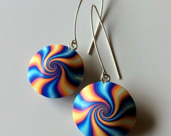 Polymer clay earrings,Striped Vortex,925 Sterling Silver hook,Blue and Orange