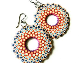 Polymer Clay Mandala Earrings,Blue,Orange,Yellow,Niobium Hook,hipoallergenic.