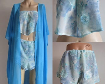 Lingerie shorts,  Blue Chiffon and Embroidered panties, Lingerie Top, Loungewear Pyjamas Chiffon Silk Vest Cami Tops Size Small For Wedding