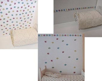 Dollhouse nursery wall paper and border with owls PDF 1:12 scale