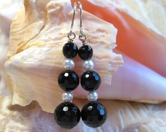 Onyx and pearl earrings, black and white, black faceted onyx with white pearls, argentium sterling silver earring wires, great for holidays