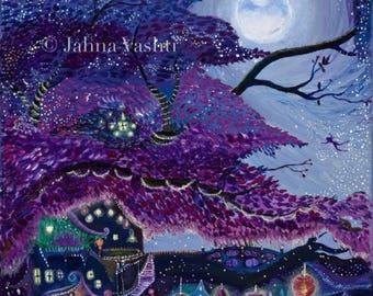 Sale! Loose Canvas Print // Giclée // My Purple Dream // Whimsical Art // Purple