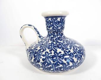 Vintage Polish Pottery Candle Holder - Blue White Polish Pottery Candlestick Holder