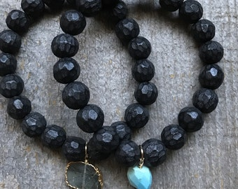 Black faceted wood and stone stacking stretch bracelet set
