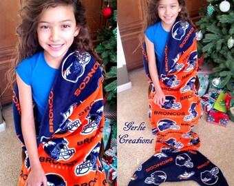 BRONCOS Blanket, Mermaid Tail Blanket, Fleece Blanket, Broncos Mermaid Tail Blanket, Orange Blue Broncos