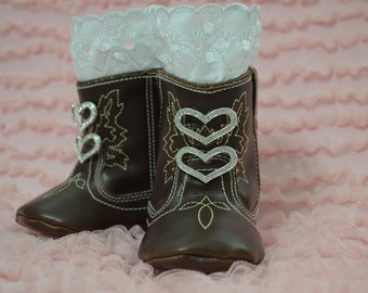 Soft Sole Baby Girl Cowgirl Boots...Boots...Photo Props...Lace Boots...Cowgirl Boots...White Lace...Soft Sole...Heart Boots...Pre Walkers