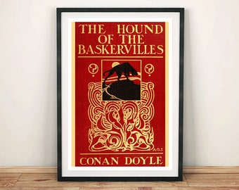 HOUND of THE BASKERVILLES: Vintage Sherlock Holmes Book Cover Art Print Wall Hanging