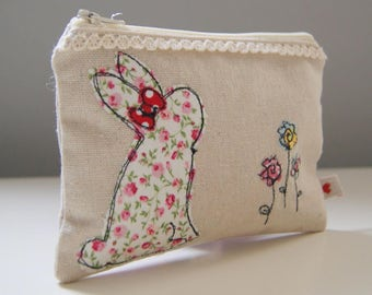 Handmade freehand machine embroidered linen bunny purse - coin purse - handmade gifts - Easter - handmade in the UK