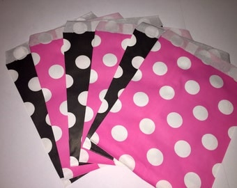 Set of 12 black and pink  Polka Dot Treat Bag, Candy bag, Party favor bag, Cookie Candy Bag