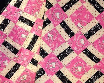 """HOLIDAY SALE Pink, Black, White and Hello Kitty Together In This Beautiful 40"""" X 40"""" Quilt"""