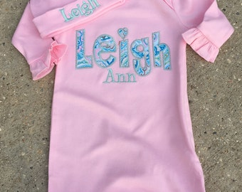 Baby  Gown Name Gown Personalized Baby Gift- Coming Home Outfit- Paisley Gown Personalized   - New Baby Newborn Gift Set,
