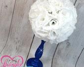Centerpiece White Rose Pomander Glitter Royal Blue Vase - Royal Baby Shower, Birthday, Wedding, Bridal Shower Bar Bat Mitzvah  Centerpiece