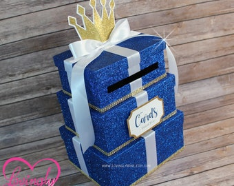 Card Box 3 Tier in Royal Blue, Gold & White | Gift Money Box for Any Event | Royal Prince Princess | Wedding | Baby Shower | Birthday
