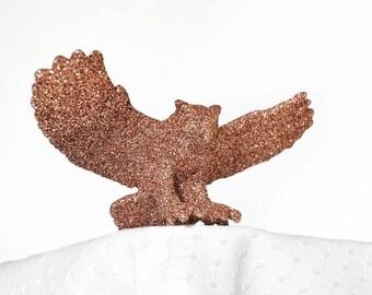 Woodland Owl Fall Home Decor in Golden Brown Glitter for Autumn Weddings, Boy or Girl Nursery, Autumn Baby Shower Decorations or Birthdays