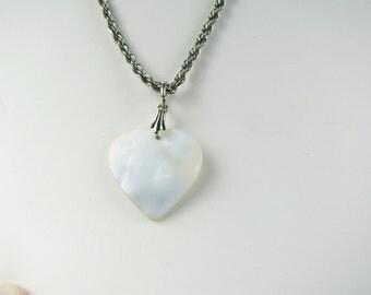 Vtg Mother of Pearl heart pendant on vtg silver chain