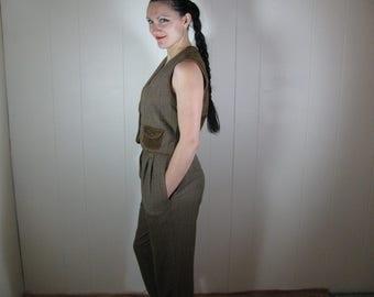 Vtg hi-waist pants and reversible vest set size S 28'' waist