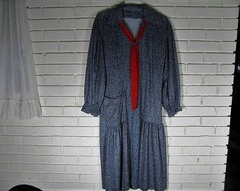 70's does 20's blue and white dress size L-XL